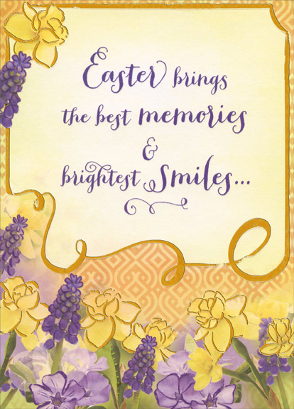 Yellow and Purple Flowers: Friend Friendship Easter Card by Designer