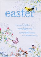 Yellow Bird on Blue Lettering (1 card/1 envelope) Designer Greetings Easter Card