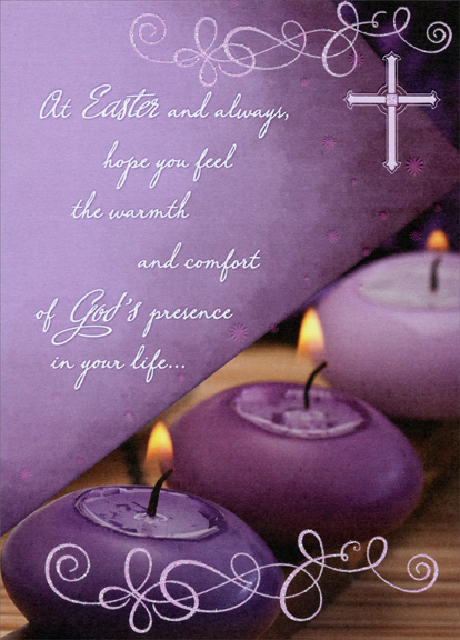 3 purple candles religious easter card by designer greetings m4hsunfo