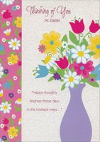 Purple Vase with Colorful Flowers (1 card/1 envelope) Designer Greetings Thinking of You Easter Card