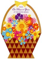 Die Cut Flower Basket (1 card/1 envelope) - Easter Card - FRONT: From Our House To Yours At The Easter Season  INSIDE: As you open the door to Easter and spring  And all the delight and happiness they bring�  Hope these good thoughts will add a warm glow  That you can take with you wherever you go!  Happy Easter