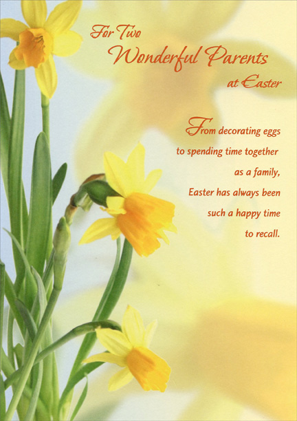 three yellow daffodils  parents easter card by designer