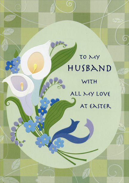 Lilies and green checkerboard husband designer greetings easter lilies and green checkerboard husband designer greetings easter card ebay m4hsunfo