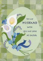 Lilies and Green Checkerboard: Husband (1 card/1 envelope) Designer Greetings Easter Card