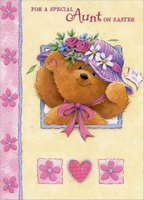 Cute Bear with Purple Hat: Aunt (1 card/1 envelope) Designer Greetings Juvenile Easter Card