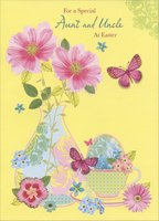 Glass Vase with Pink Flowers: Aunt and Uncle (1 card/1 envelope) Designer Greetings Easter Card