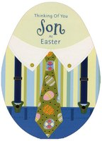 Die Cut Egg Wearing Tie: Son (1 card/1 envelope) - Easter Card - FRONT: Thinking of You Son At Easter  INSIDE: From a little boy waiting excitedly for a basket from the Easter Bunny, to the terrific person you've grown into today who adds joy and laughter to family times� you've always been a part of this season's special moments and so many happy memories! Happy Easter