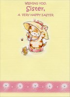 Cat and Bear: Sister (1 card/1 envelope) Designer Greetings Juvenile Easter Card