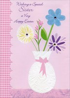 Flowers in White Vase Pink Die Cut: Sister (1 card/1 envelope) Designer Greetings Easter Card