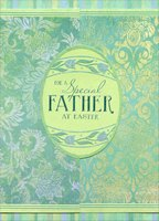 Egg on Dark Green Gate Fold: Father (1 card/1 envelope) Designer Greetings Easter Card