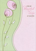 Thin Pink Flowers on Shimmering Paper: Wife (1 card/1 envelope) Designer Greetings Easter Card