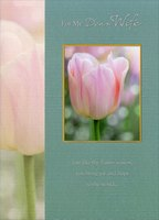 Single Pink Tulip in Gold Foil Frame: Wife (1 card/1 envelope) Designer Greetings Easter Card