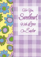 Pink, Blue, Green Flowers and Purple Checkerboard: Sweetheart (1 card/1 envelope) Designer Greetings Easter Card