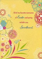Die Cut Glittering Florals on Yellow: Sweetheart (1 card/1 envelope) Designer Greetings Easter Card