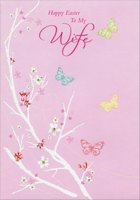 Four Butterflies and White Branches: Wife (1 card/1 envelope) Designer Greetings Easter Card