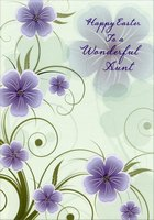 Purple Flowers on Mint Green: Aunt (1 card/1 envelope) Designer Greetings Easter Card