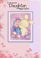 Pictura Bunny with Sparkling Ears on Purple Easter Card for Someone Special