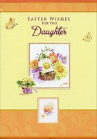 Floral Basket and Chick in Frames: Daughter (1 card/1 envelope) Designer Greetings Easter Card