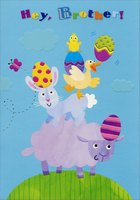 Lamb, Bunny, Duck and Chick: Brother (1 card/1 envelope) - Easter Card - FRONT: Hey, Brother!  INSIDE: Wishing you piles of Easter fun� And yummy treats by the ton� To make this Easter your very best one! Happy Easter