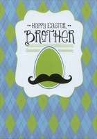 Mustache on Green Egg: Brother (1 card/1 envelope) - Easter Card - FRONT: Happy Easter, Brother  INSIDE: There are so many fond memories of Easter with our family - filled with so much laughter and amazing moments - that it's impossible not to smile whenever they're thought of� much like each and every thought of you, Brother. Wishing you an Easter as wonderful as you are