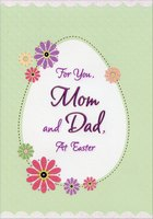 Glitter Flowers and White Egg on Green: Mom and Dad (1 card/1 envelope) Designer Greetings Parents Easter Card