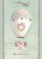 Tip On Hot Air Balloon: Wife (1 card/1 envelope) Designer Greetings Designer Boutique Handmade Easter Card