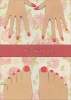 Painted Nails Tip On Hands and Feet Handmade: Mom (1 card/1 envelope) Designer Greetings Designer Boutique Mother's Day Card