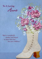 Pink Tip On Flowers in Boot Handmade: Aunt (1 card/1 envelope) Designer Greetings Designer Boutique Mother's Day Card