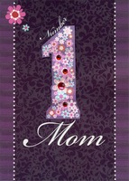 Number One Mom with Gems Handmade (1 card/1 envelope) Designer Greetings Designer Boutique Mother's Day Card