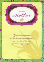 Pink Foil Banner with Gems Handmade: Mother (1 card/1 envelope) Designer Greetings Designer Boutique Mother's Day Card