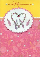 Love Birds with Gem Heart Handmade: Wife (1 card/1 envelope) Designer Greetings Designer Boutique Mother's Day Card