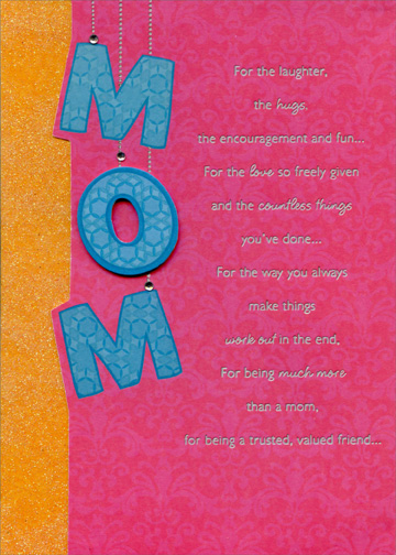 mom letters with gems handmade designer boutique mothers day card