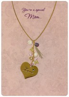 Gold Foil Necklace, Gems and Charm Handmade: Mom (1 card/1 envelope) Designer Greetings Designer Boutique Mother's Day Card