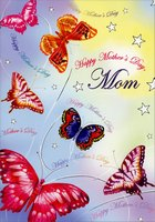 Multi-Colored Butterflies: Mom (1 card/1 envelope) Designer Greetings Mother's Day Card