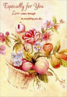 Gold Foil Floral and Fruit Basket: Especially For You (1 card/1 envelope) Designer Greetings Mother's Day Card