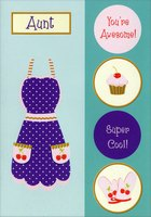 Purple Apron with Gold Foil: Aunt (1 card/1 envelope) Designer Greetings Juvenile Mother's Day Card