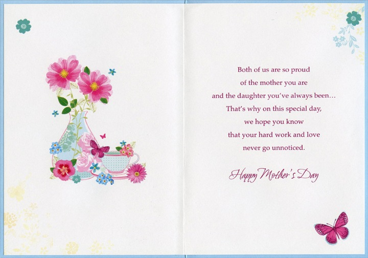 Butterflies vase and tea cup daughter designer greetings greeting cards shipped using usps first class package are normally shipped in a white or kraft non bendable mailer and cards shipped via usps priority mail m4hsunfo