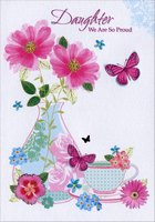 Butterflies, Vase and Tea Cup: Daughter (1 card/1 envelope) Designer Greetings Mother's Day Card