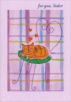 Sleeping Cat on Chair: Sister (1 card/1 envelope) Designer Greetings Mother's Day Card