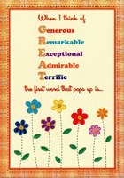 Generous, Remarkable, Exceptional: Thinking of You (1 card/1 envelope) Designer Greetings Mother's Day Card