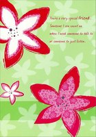 Large Pink Flowers on Light Green: Friend (1 card/1 envelope) Designer Greetings Mother's Day Card