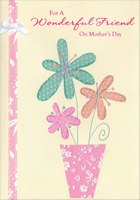 Sparkling Flowers in Flower Pot: Friend (1 card/1 envelope) Designer Greetings Mother's Day Card