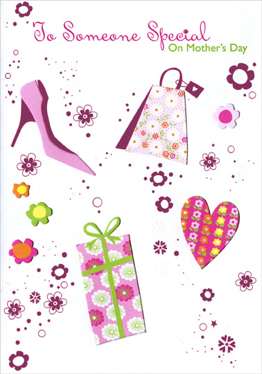 Pink shoe and die cut windows someone special mothers day card greeting cards shipped using usps first class package are normally shipped in a white or kraft non bendable mailer and cards shipped via usps priority mail m4hsunfo