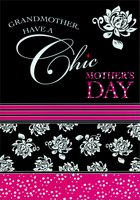 Chic Pink White and Black: Grandmother (1 card/1 envelope) Designer Greetings Mother's Day Card