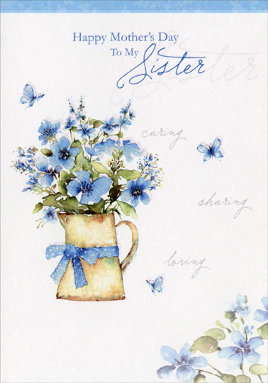 Blue flowers in pitcher sister mothers day card by designer greetings blue flowers in pitcher sister mothers day card m4hsunfo