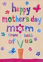 Sparkling Colorful Words and Flower Pot: Mom (1 card/1 envelope) Designer Greetings Mother's Day Card