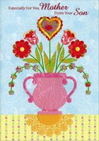 Embossed Red Flowers in Pink Pot: Mother (1 card/1 envelope) Designer Greetings Mother's Day Card
