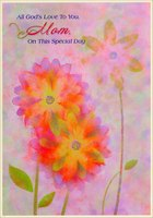 Three Pastel Flowers: Mom (1 card/1 envelope) Designer Greetings Religious Mother's Day Card