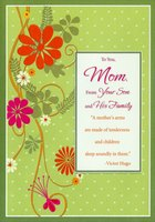Orange and Pink Flowers on Foil Branch (1 card/1 envelope) Designer Greetings Mother's Day Card