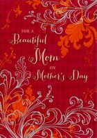 Gold Foil Flowers on Deep Red: Mom (1 card/1 envelope) Designer Greetings Mother's Day Card